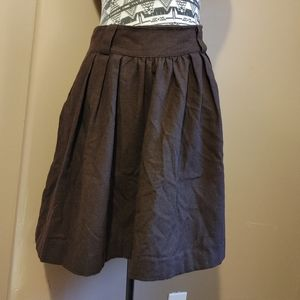 Pink Martini brown wool full skirt with pockets